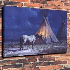 Modern Painting Art Print on Canvas Indians, Night Light Home Decor (Unframed)