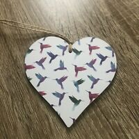 Handmade Decoupaged wooden Hanging Heart Plaque Hummingbirds Decor 10cm