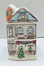 Vintage Porcelain 2-Story Victorian House Christmas Display Potpourri Pot 3-Pc