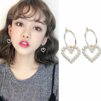 Korean Style Women Earrings Circle Hoop Heart Pearl Drop Dangle Ear Stud Jewelry