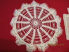 "Vintage White Pink Trimmed Spokes of Fan Ruffled 16"" Crocheted Doily"
