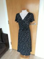 Ladies PER UNA Dress Size 14 Long Tall Black Grey Ruched Smart Casual Day Party
