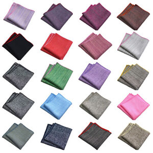 Men Solid Color Linen Cotton Pocket Square Hanky Wedding Business Handkerchief