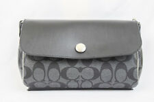 NWT! Coach Black / Metallic Grey PVC Leather Revisible Crossbody Bag F26172