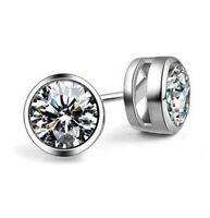 MEN WOMEN 925 STERLING SILVER 6MM LAB DIAMOND BLING ROUND STUD EARRINGS Gift A22