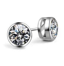MEN WOMEN 925 STERLING SILVER 6MM LAB DIAMOND BLING ROUND STUD EARRINGS Gift A22