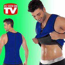 UK Mens Neoprene Belt Shaper Wrap Waist Vest Fat Burner Cami Shirt Trimmer Black