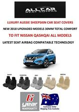 Sheepskin Car Seat Covers to fit Nissan Qashqai , Airbag Safe, 5 Colours, 30mm.