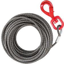 "50'x3/8"" Fiber Core Winch Cable Self Locking Swivel Hook 3780lbs Tow Truck"