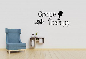Grape Therapy Wine Quote Wall Art Decal Sticker Q146
