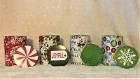 🐧New Christmas Round Cylinders Decorated Lids U CHOOSE Joyful Sweets Penguin🎄