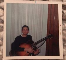 Vintage Photo Young Man w/ Gibson Guitar Beatnik Hippie 60's Snapshot