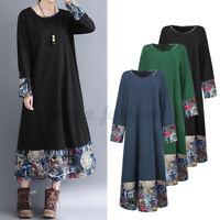 Oversize Femme Robe Party Col Rond Manche Longue Couture en Floral Dresse Maxi