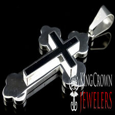 Tarnish Free Stainless Steel 316L Black & Silver Cross Jesus Charm Pendant Men's