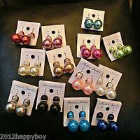 Fashion Women Lady Double Pearl Earrings Front Back Ear Studs Jewelry Gift