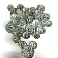 x10 Silver Sparkle Glitter Mouse Ears Charms Dummy Clips - Top Seller!