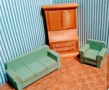 Vintage 1940s Dollhouse Furniture Strombecker Wood Sofa Chair Desk Living Room