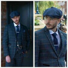 3 Piece Men Suit Blue Plaid Herringbone Check Tweed Groom Tuxedo Wedding Suit