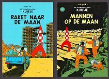 """Kuifje - 2x postkaart """"raket naar de maan en mannen op de maan"""" Moulinsart"""