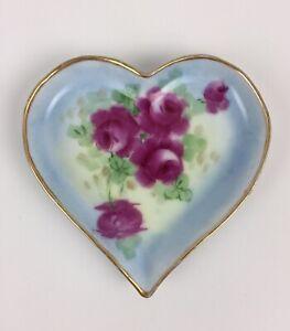 Vintage Wanos Bavaria Pink Roses Heart Shaped Trivet dish signed