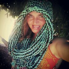 Hoodware Scarf-Cowl Infinity Neck Warmer Hooded handmade t-shirt yarn blue