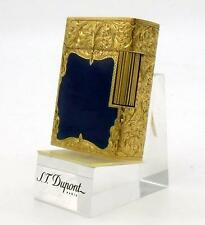 S.T.Dupont 18k Solid Yellow Gold Guilloche Blue Enamel Ligne 1 Lighter *Rare*