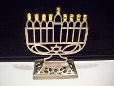 Contemporary Menorah Judaica 7'' Tall Pewter Tone Metal