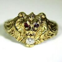 Ruby & 0.14ct Diamond Leo Lion Head 9ct Yellow Gold Ring size S 1/2 ~ 9 1/2