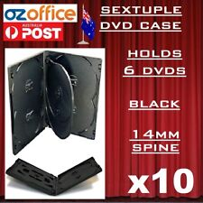 10 X Premium Quality Sextuple Black DVD Case Holds 6 DVD Covers 14mm Spine