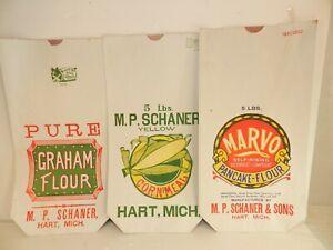 3 paper FLOUR SACK BAG lot Hart MI Michigan vintage advertising SCHANER colorful