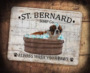 "9""x12"" Metal St. Bernard Soap Company Always Wash Your Paws  Bathroom"