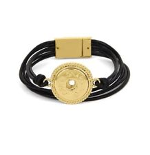 GINGER SNAP LEATHER BLACK 6 STRAND MAGNETIC BRACELET for Interchangeable Jewelry