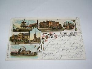AK Litho Gruss aus Hemelingen Bahnhof Mühle Actien - Brauerei usw. 21.1.1903