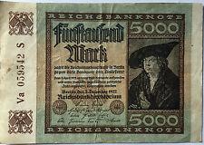 5000 Fünftausend Mark 1922 S  Ro80f  Deutsches Reich - Inflation (39)