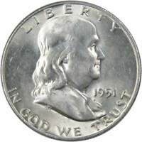 1951 D 50c Franklin Silver Half Dollar US Coin AU About Uncirculated