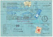 DDR Zoll - Vermerk 99 Plauen Luftpost Paketkarte v Polen - Auerbach 1986