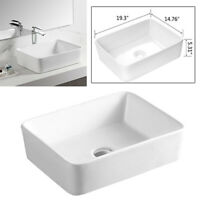 "19-1/3"" x 14-3/4"" Rectangular Bathroom Porcelain Ceramic Vessel Sink Bowl Basin"