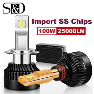 2X Mini H7 LED Headlight Bulb Conversion Kit High Low Beam Fog Lamp 100W 25000LM