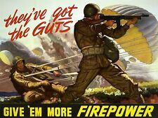 ART PRINT POSTER PROPAGANDA WWII WAR GUTS FIRE POWER USA SOLDIER NOFL1013