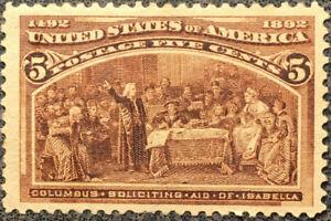 Scott #234 US 1893 5 Cent Columbian Expositon Postage Stamp Unused LH
