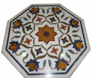 "24"" Marble Table Top Pietra Dura Inlay Handmade Art Work Decor"