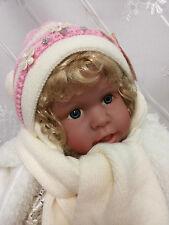 Baby Mütze Schal  43 - 53cm Weiß/Rosa Strickmütze Winter Taufe Mädchen Neu R2/1