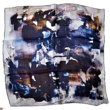 "Brand New  FENDI Scarf Women Silk 23x23"" square Brown Blue Water Colors 150789"
