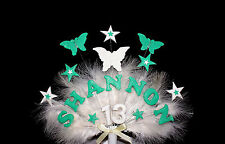 Butterfly, star, feather cust  Birthday Cake Topper personalised name, age