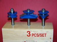 "3 PC 1/2"" SHANK CARBIDE TIPPED PANEL CUTTER ROUTER BIT SET WOODWORKING TOOL"