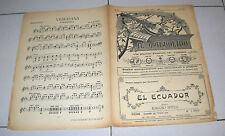 Spartito IL MANDOLINO 1937 EL ECUADOR Ignazio Bitelli chitarra Liberty mandolin