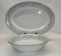 "Princess by CROWN MING 9"" Round Vegetable Bowl & 14""  Oval Serving Platter"