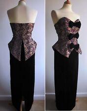Vintage 80s Evening Long Dress Pink Black Velvet Peplum Ronald Joyce After Six