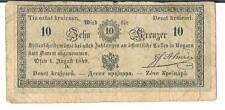 Austria BANCONOTA 10 ri 422 01.08.1849 AF tesoro, OFEN (Buda)
