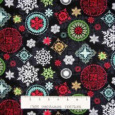 Christmas Fabric - Holly Jolly Snowflake Medallion Black - Studio E YARD